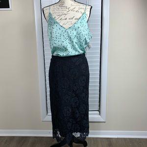 J crew black lace skirt